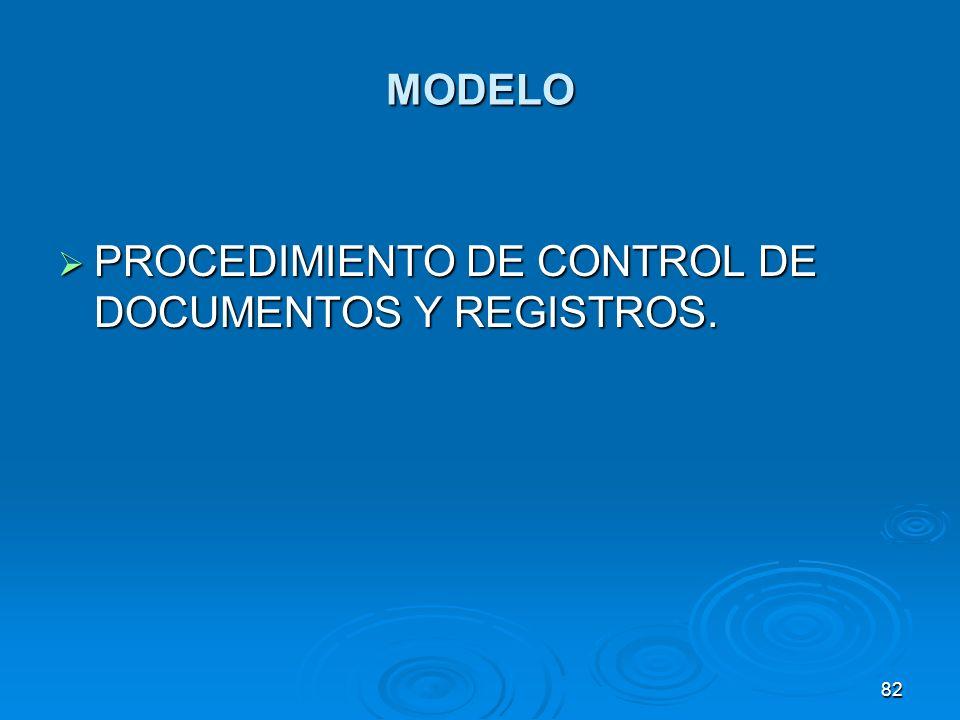 MODELO PROCEDIMIENTO DE CONTROL DE DOCUMENTOS Y REGISTROS. PROCEDIMIENTO DE CONTROL DE DOCUMENTOS Y REGISTROS. 82