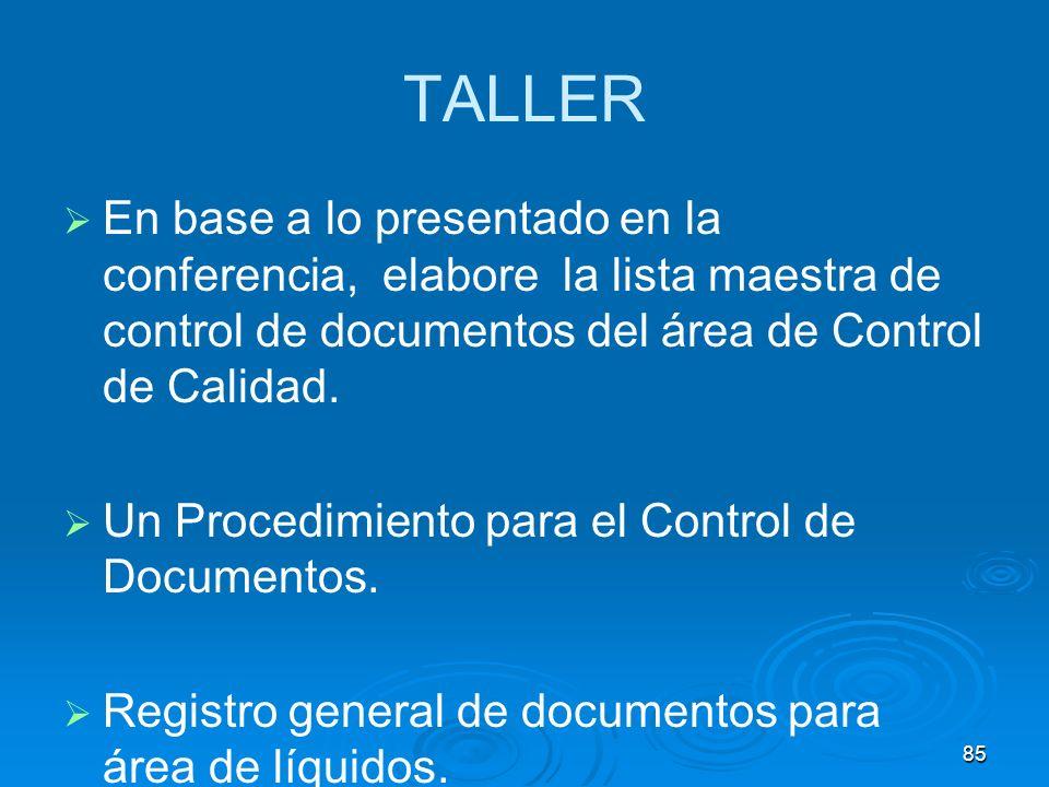 TALLER En base a lo presentado en la conferencia, elabore la lista maestra de control de documentos del área de Control de Calidad. Un Procedimiento p