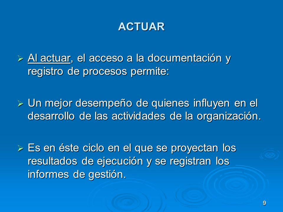 ACTUAR Se inicia el proceso de nuevo, planeando acciones de mejoramiento, ejecutando éstas y verificando nuevamente.