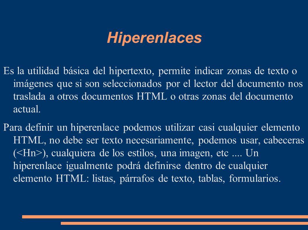 Hiperenlaces Es la utilidad básica del hipertexto, permite indicar zonas de texto o imágenes que si son seleccionados por el lector del documento nos