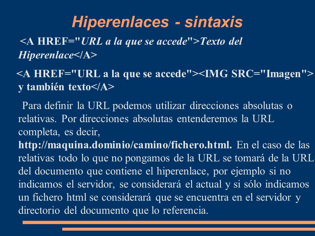 Hiperenlaces - sintaxis Texto del Hiperenlace y también texto Para definir la URL podemos utilizar direcciones absolutas o relativas. Por direcciones