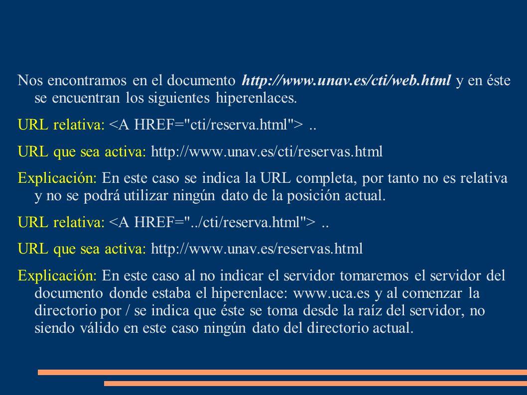 Nos encontramos en el documento http://www.unav.es/cti/web.html y en éste se encuentran los siguientes hiperenlaces. URL relativa:.. URL que sea activ