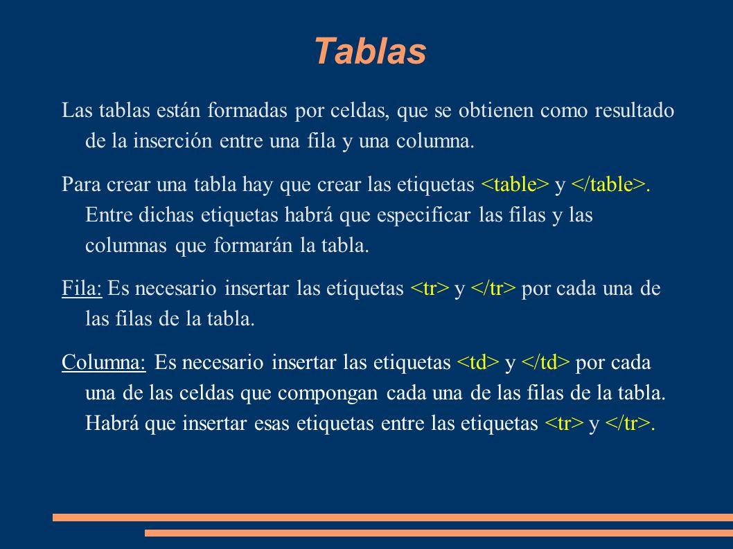 Tablas Las tablas están formadas por celdas, que se obtienen como resultado de la inserción entre una fila y una columna. Para crear una tabla hay que