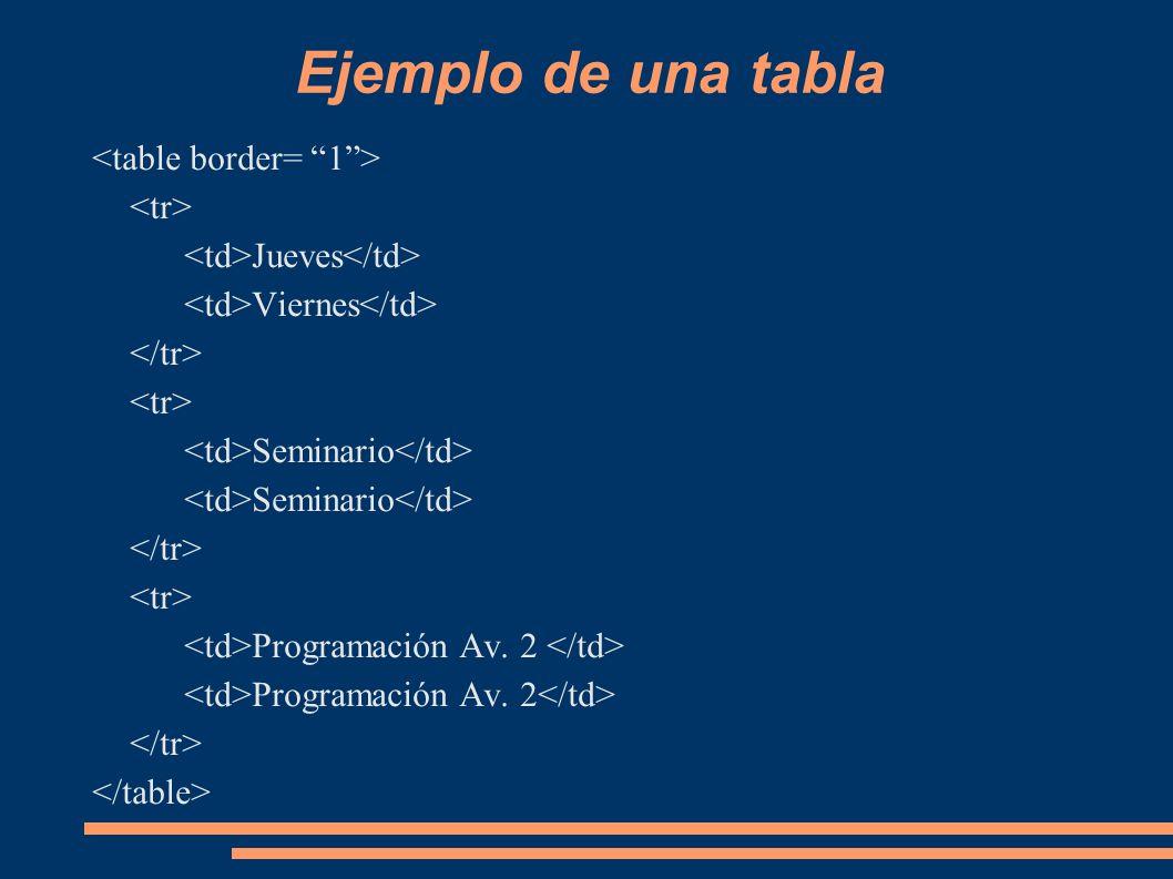 Ejemplo de una tabla Jueves Viernes Seminario Programación Av. 2