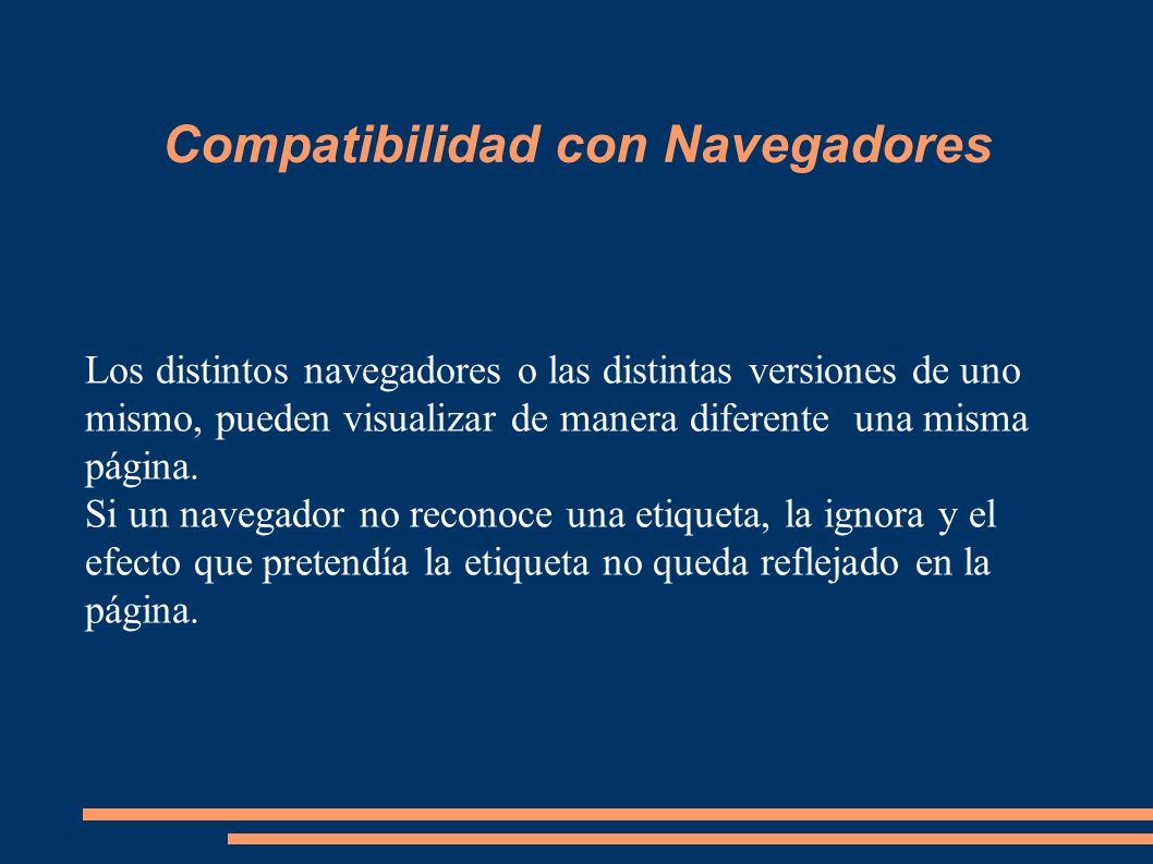 Compatibilidad con Navegadores Los distintos navegadores o las distintas versiones de uno mismo, pueden visualizar de manera diferente una misma págin