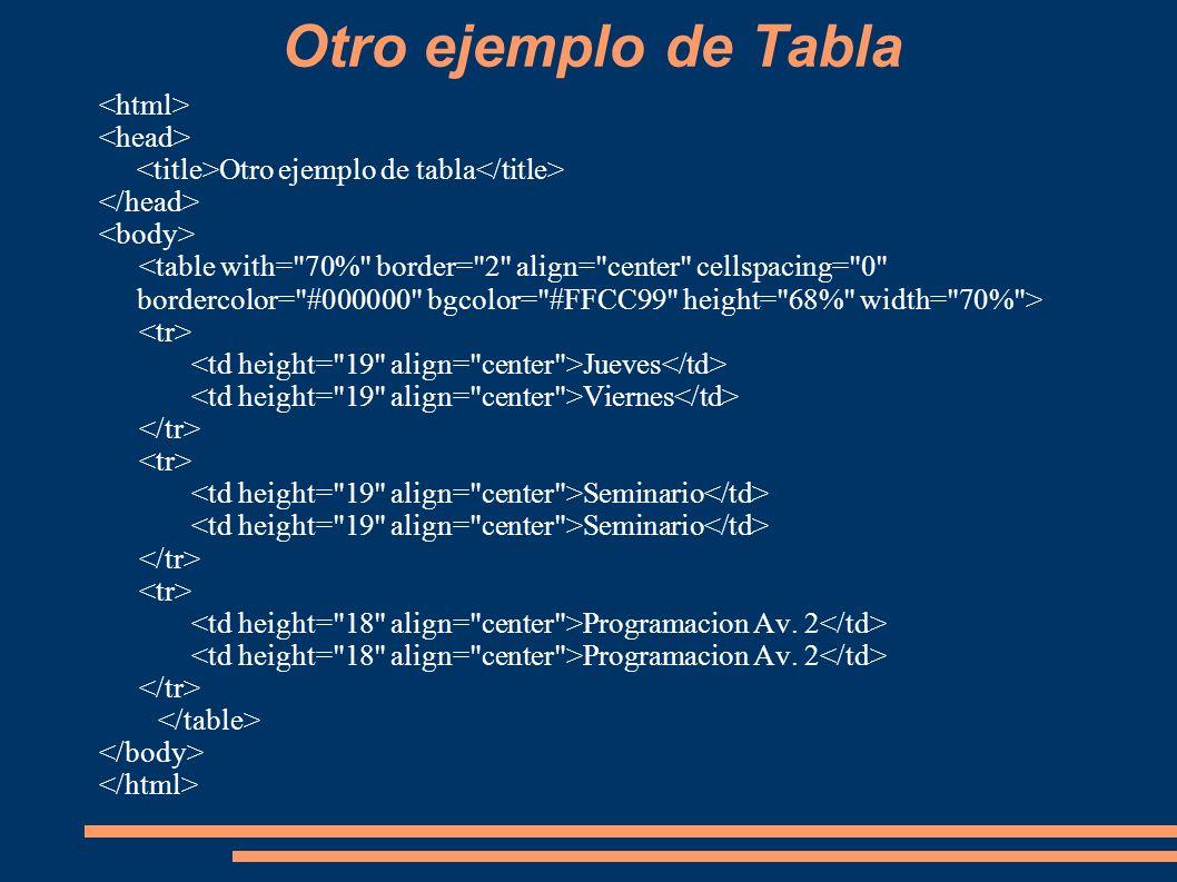 Otro ejemplo de Tabla Otro ejemplo de tabla Jueves Viernes Seminario Programacion Av. 2