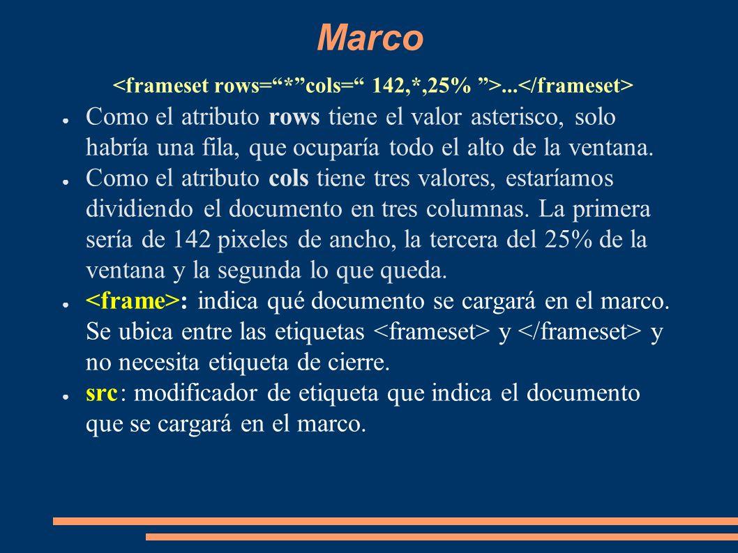 Marco... Como el atributo rows tiene el valor asterisco, solo habría una fila, que ocuparía todo el alto de la ventana. Como el atributo cols tiene tr
