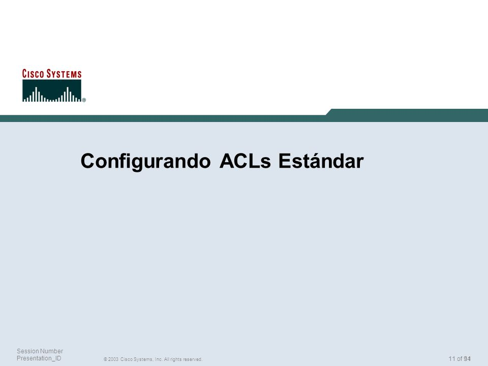 11 © 2003 Cisco Systems, Inc. All rights reserved. Session Number Presentation_ID 11 of 94 Configurando ACLs Estándar