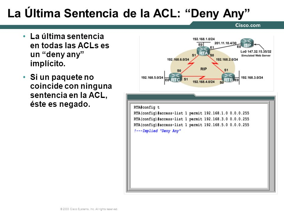© 2003 Cisco Systems, Inc. All rights reserved. La Última Sentencia de la ACL: Deny Any La última sentencia en todas las ACLs es un deny any implícito