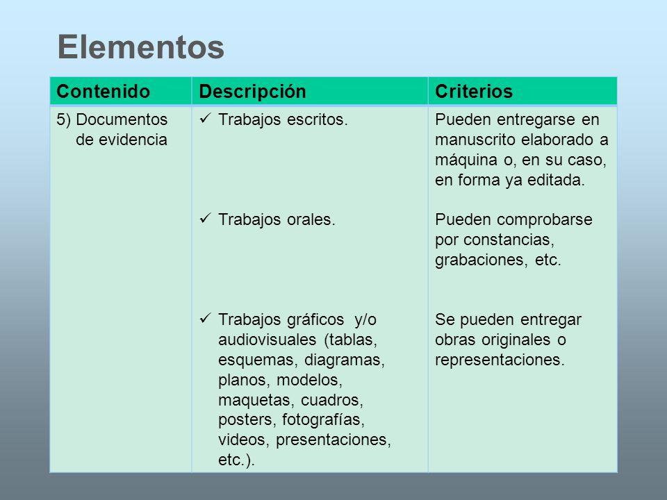 ContenidoDescripciónCriterios 5) Documentos de evidencia Trabajos escritos. Trabajos orales. Trabajos gráficos y/o audiovisuales (tablas, esquemas, di