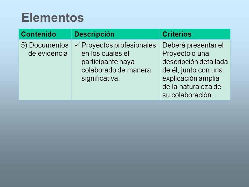 ContenidoDescripciónCriterios 5) Documentos de evidencia Proyectos profesionales en los cuales el participante haya colaborado de manera significativa