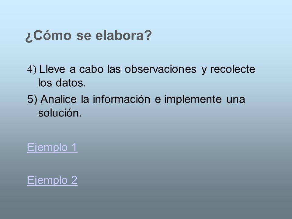 4) Lleve a cabo las observaciones y recolecte los datos. 5) Analice la información e implemente una solución. ¿Cómo se elabora? Ejemplo 1 Ejemplo 2