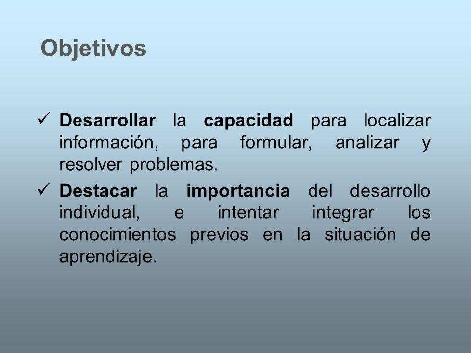 Objetivos Desarrollar la capacidad para localizar información, para formular, analizar y resolver problemas. Destacar la importancia del desarrollo in