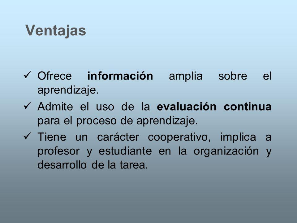 Ventajas Ofrece información amplia sobre el aprendizaje. Admite el uso de la evaluación continua para el proceso de aprendizaje. Tiene un carácter coo