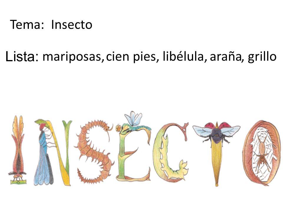 Tema: Insecto mariposas,cien pies,libélula,araña Lista:, grillo
