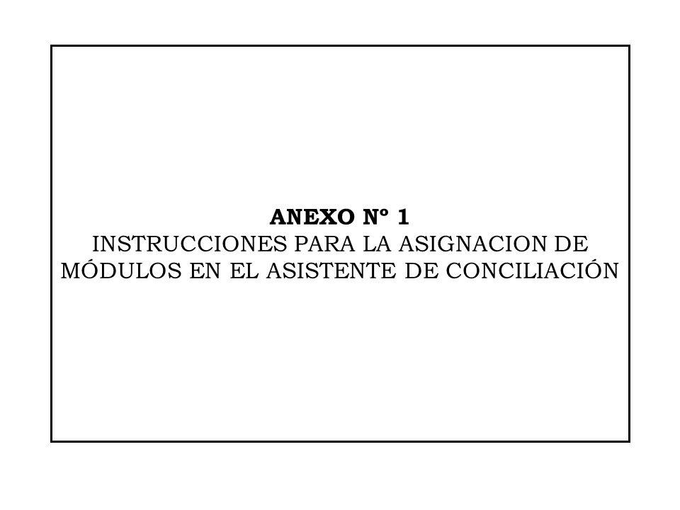 ANEXO Nº 1 INSTRUCCIONES PARA LA ASIGNACION DE MÓDULOS EN EL ASISTENTE DE CONCILIACIÓN