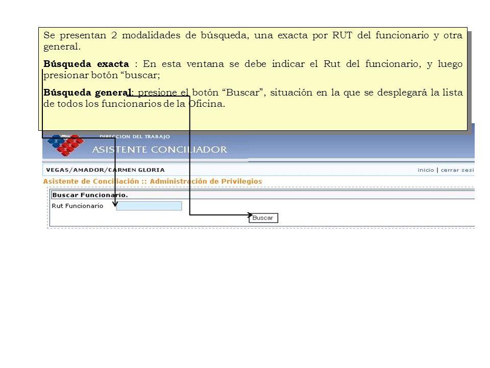 Se presentan 2 modalidades de búsqueda, una exacta por RUT del funcionario y otra general.