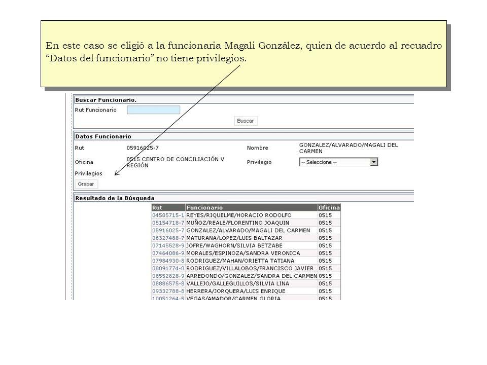En este caso se eligió a la funcionaria Magali González, quien de acuerdo al recuadro Datos del funcionario no tiene privilegios.