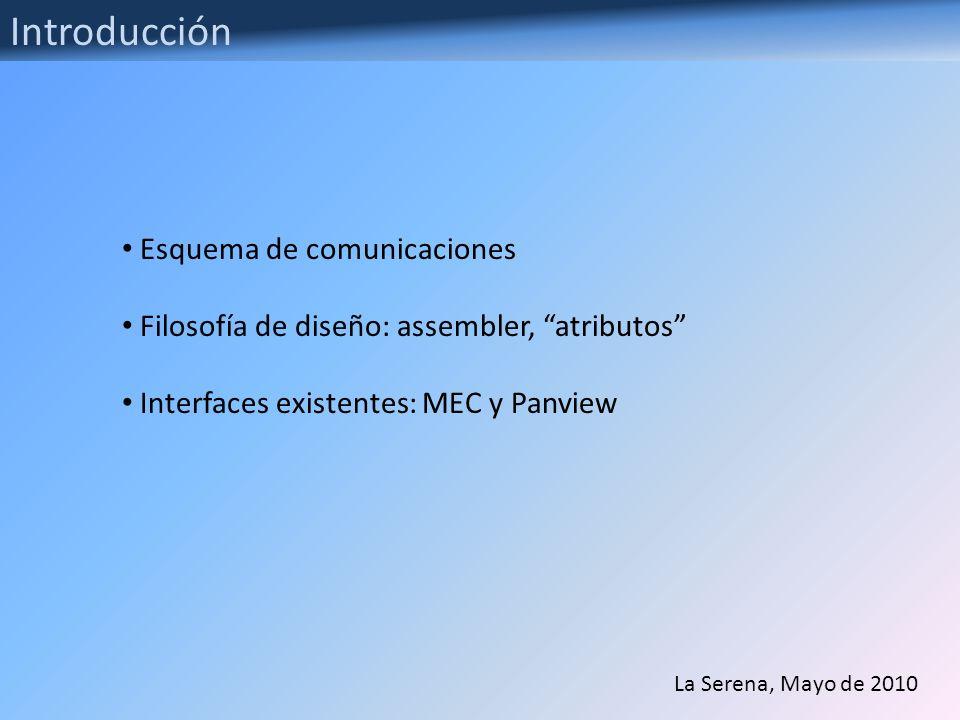 Introducción Esquema de comunicaciones Filosofía de diseño: assembler, atributos Interfaces existentes: MEC y Panview La Serena, Mayo de 2010