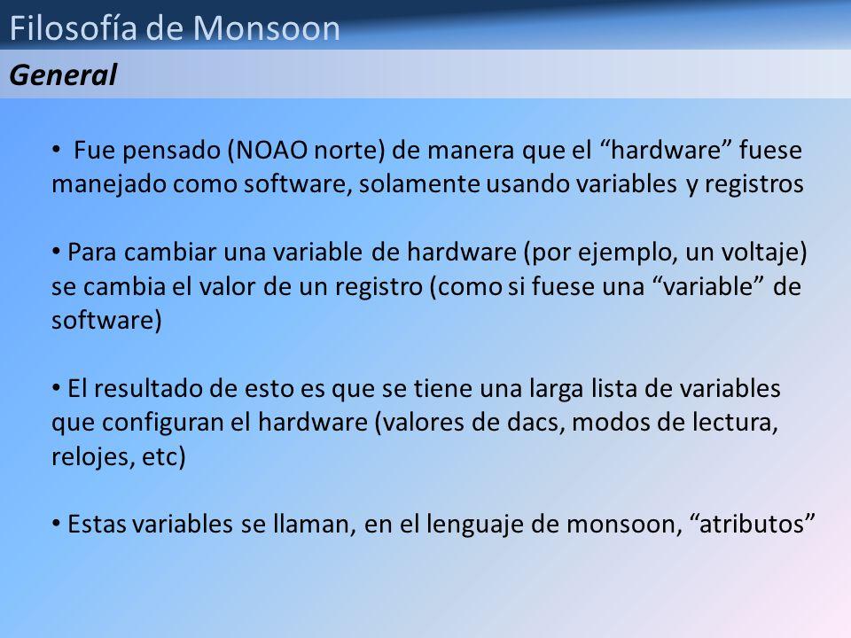 Filosofía de Monsoon La única inteligencia del hardware de monsoon reside en la Tarjeta MCB, en donde corre un loop de ejecución de rutinas Al momento de ser inicializado se hace un upload del código que correrá en la MCB (de manera similar a los archivos.lod de SDSU o los.btl de arcon – el famoso helicóptero de inicio -) Estos archivos son de extensión ucd (xxx.ucd) El assembler de monsoon fue también desarrollado por el equipo de software de monsoon (Tucson).