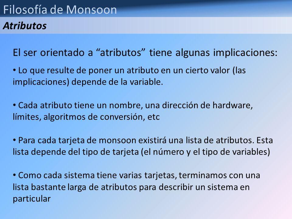Filosofía de Monsoon La lista de atributos se guarda en un archivo con extensión csv, y es específico para cada sistema Un detalle importante es que la dirección del atributo se forma de la dirección interna de la variable en la tarjeta, y del slot en que la tarjeta se encuentra.