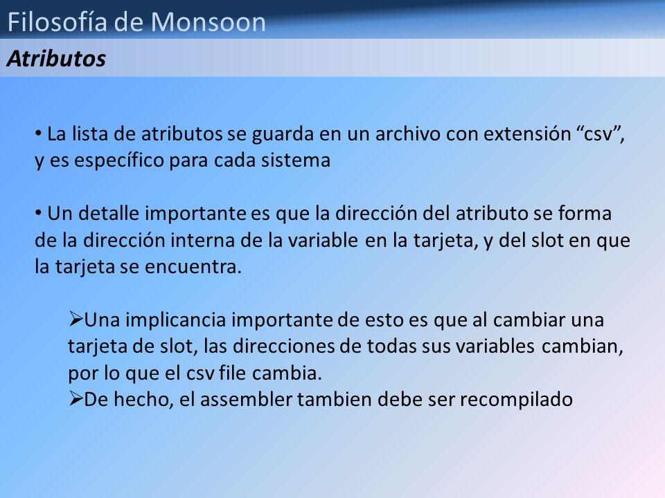Filosofía de Monsoon La lista de atributos se guarda en un archivo con extensión csv, y es específico para cada sistema Un detalle importante es que l