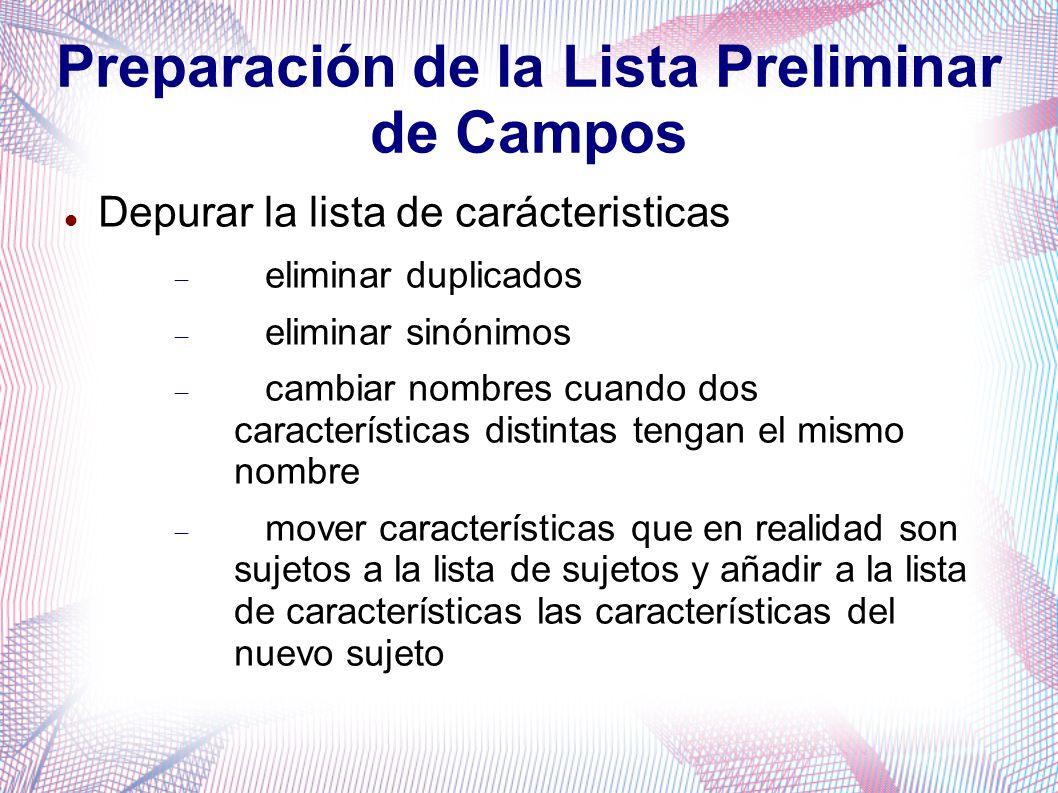 Preparación de la Lista Preliminar de Campos Depurar la lista de carácteristicas eliminar duplicados eliminar sinónimos cambiar nombres cuando dos car