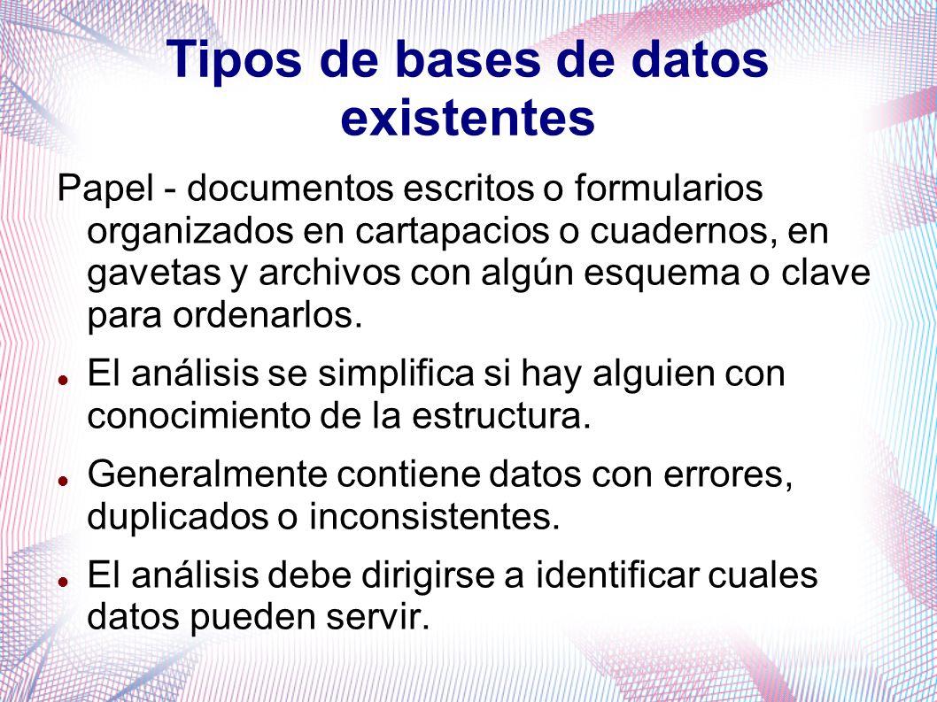 Tipos de bases de datos existentes Papel - documentos escritos o formularios organizados en cartapacios o cuadernos, en gavetas y archivos con algún e