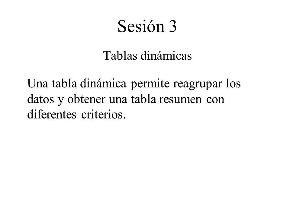 Sesión 3 Tablas dinámicas Una tabla dinámica permite reagrupar los datos y obtener una tabla resumen con diferentes criterios.