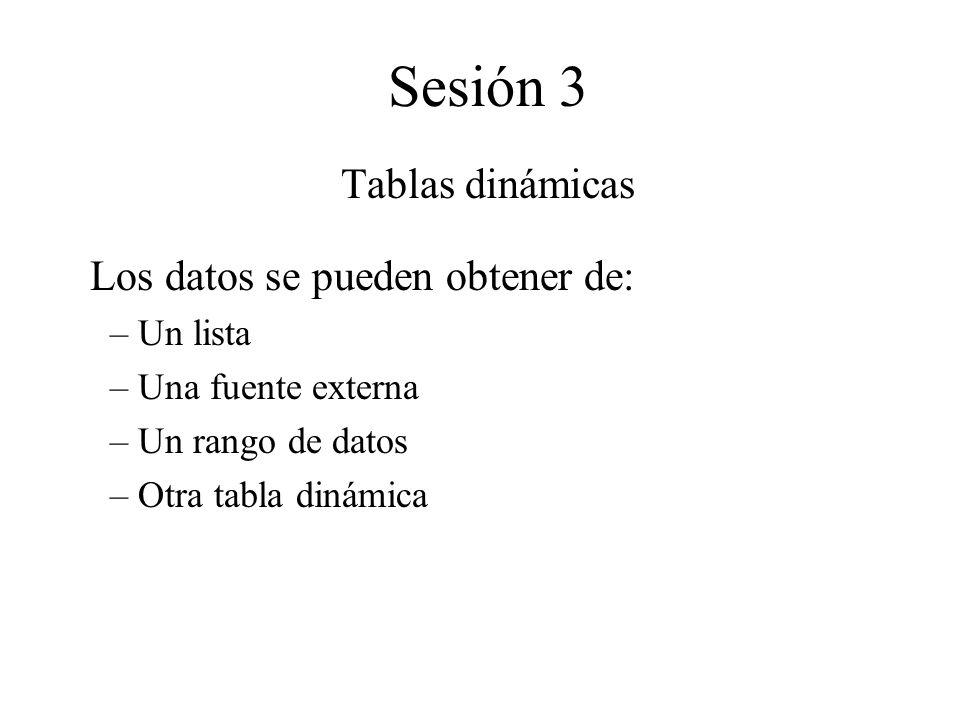Sesión 3 Tablas dinámicas Los datos se pueden obtener de: – Un lista – Una fuente externa – Un rango de datos – Otra tabla dinámica