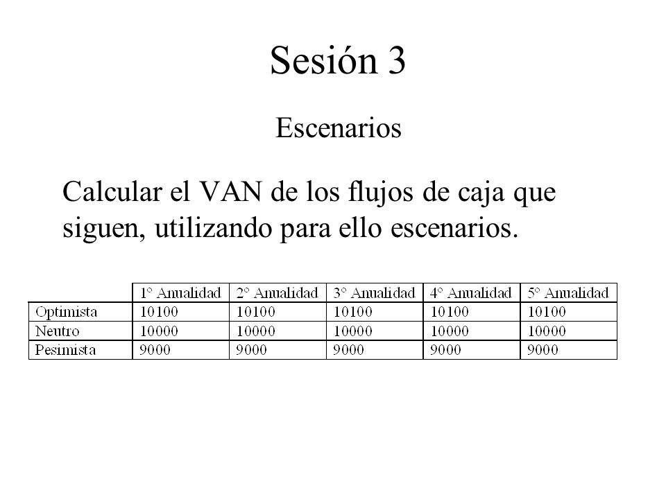 Sesión 3 Escenarios Calcular el VAN de los flujos de caja que siguen, utilizando para ello escenarios.