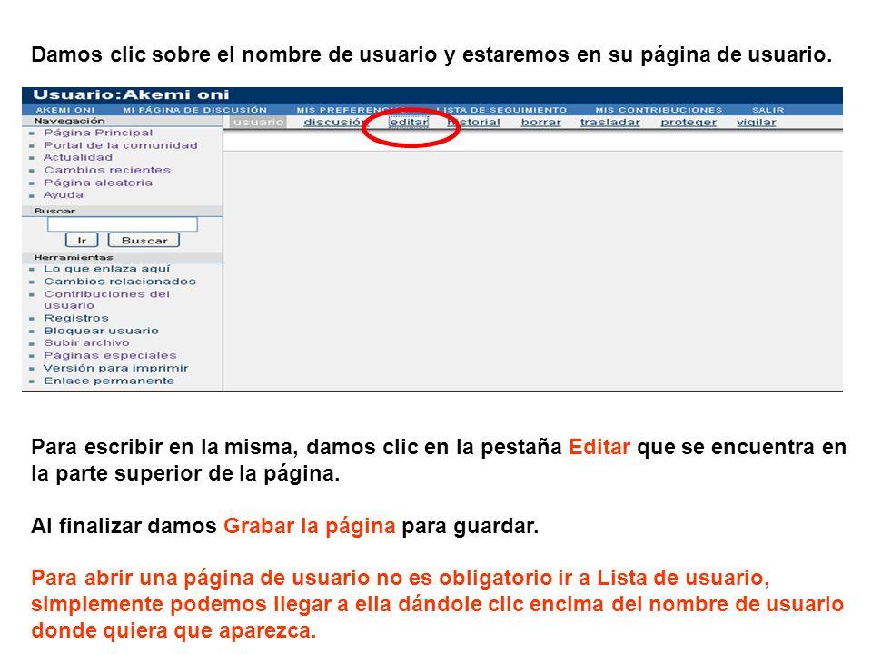 Damos clic sobre el nombre de usuario y estaremos en su página de usuario. Para escribir en la misma, damos clic en la pestaña Editar que se encuentra