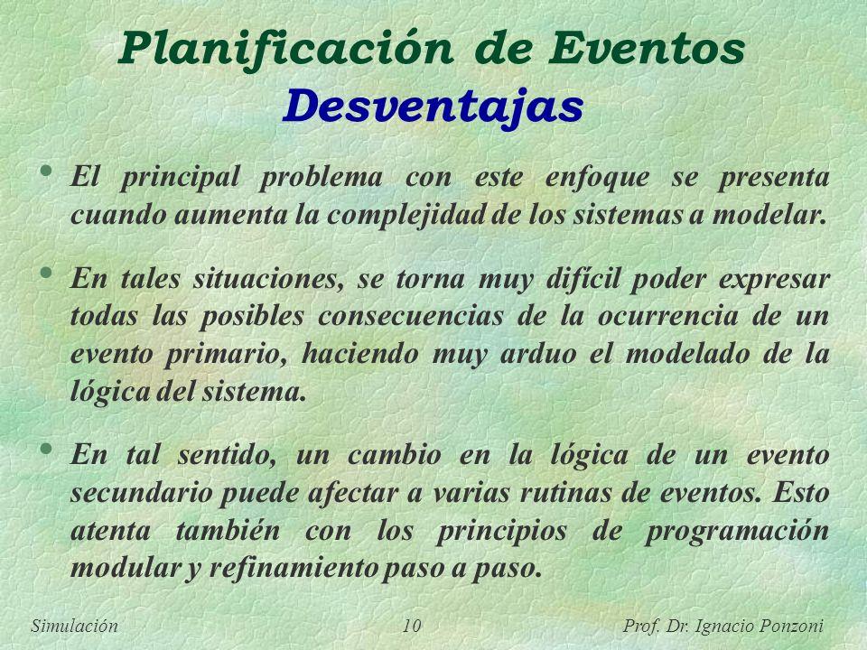 Simulación 10 Prof. Dr. Ignacio Ponzoni Planificación de Eventos Desventajas El principal problema con este enfoque se presenta cuando aumenta la comp
