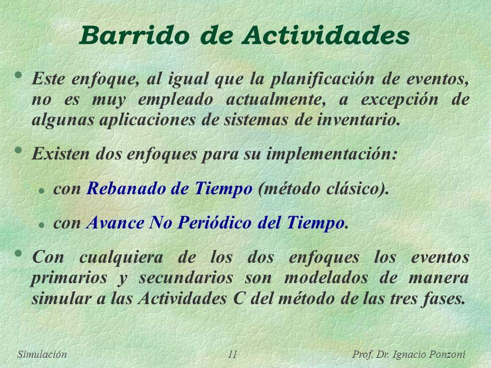 Simulación 11 Prof. Dr. Ignacio Ponzoni Barrido de Actividades Este enfoque, al igual que la planificación de eventos, no es muy empleado actualmente,