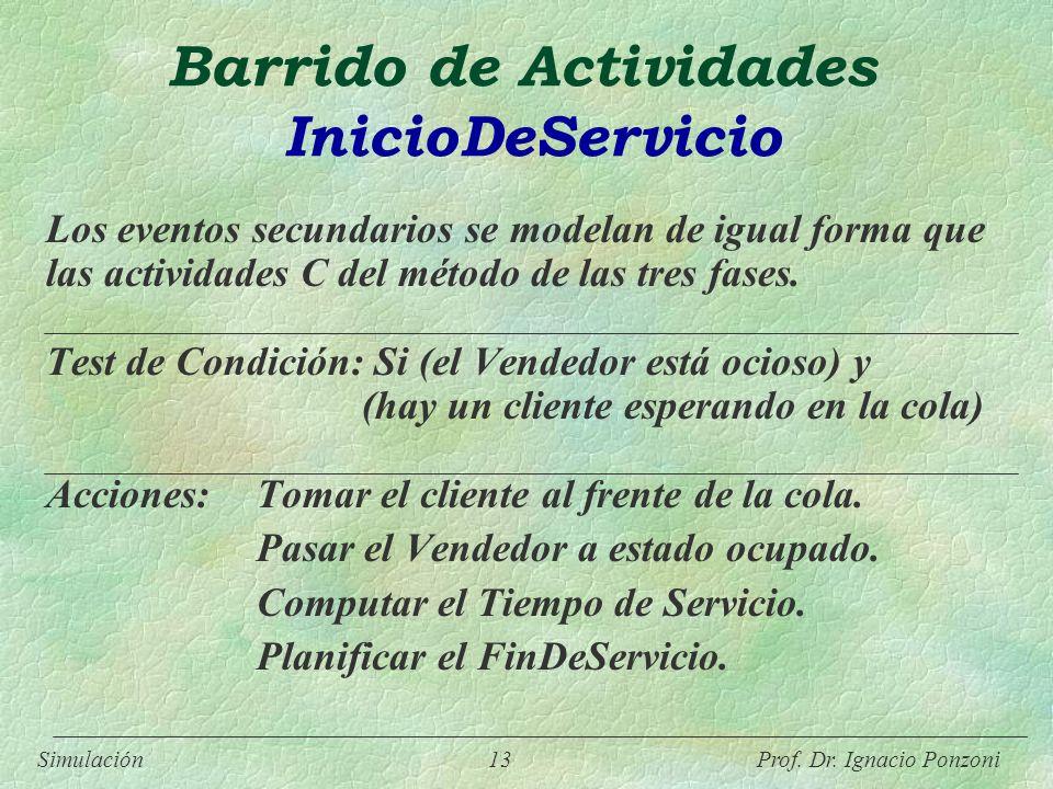 Simulación 13 Prof. Dr. Ignacio Ponzoni Barrido de Actividades InicioDeServicio Los eventos secundarios se modelan de igual forma que las actividades