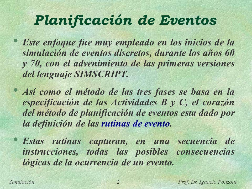 Simulación 2 Prof. Dr. Ignacio Ponzoni Planificación de Eventos Este enfoque fue muy empleado en los inicios de la simulación de eventos discretos, du