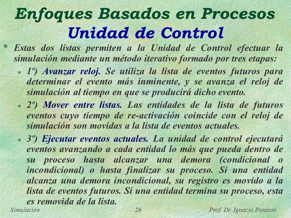 Simulación 26 Prof. Dr. Ignacio Ponzoni Enfoques Basados en Procesos Unidad de Control Estas dos listas permiten a la Unidad de Control efectuar la si