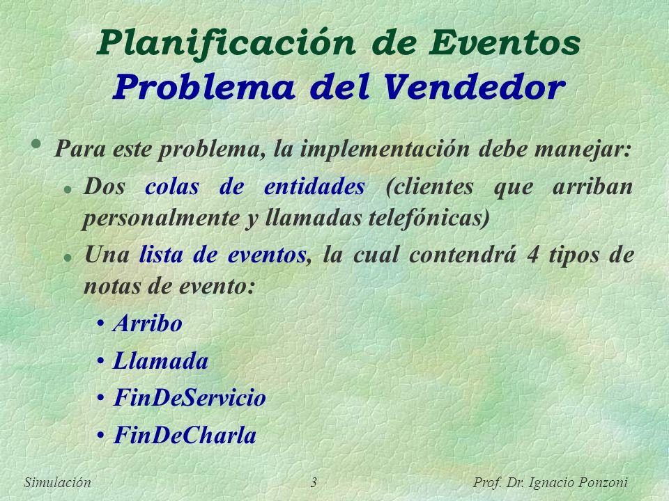 Simulación 3 Prof. Dr. Ignacio Ponzoni Planificación de Eventos Problema del Vendedor Para este problema, la implementación debe manejar: l Dos colas