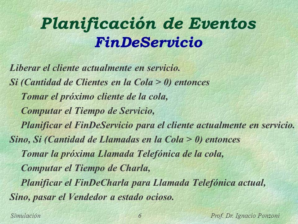 Simulación 6 Prof. Dr. Ignacio Ponzoni Planificación de Eventos FinDeServicio Liberar el cliente actualmente en servicio. Si (Cantidad de Clientes en