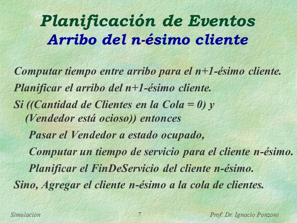 Simulación 7 Prof. Dr. Ignacio Ponzoni Planificación de Eventos Arribo del n-ésimo cliente Computar tiempo entre arribo para el n+1-ésimo cliente. Pla