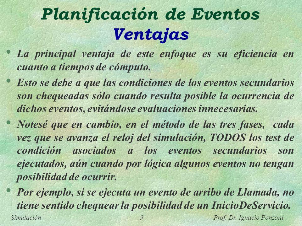 Simulación 9 Prof. Dr. Ignacio Ponzoni Planificación de Eventos Ventajas La principal ventaja de este enfoque es su eficiencia en cuanto a tiempos de