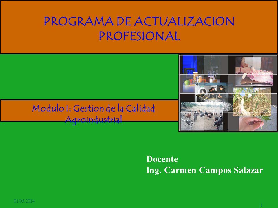 01/05/2014 1 PROGRAMA DE ACTUALIZACION PROFESIONAL Docente Ing. Carmen Campos Salazar Modulo I: Gestion de la Calidad Agroindustrial