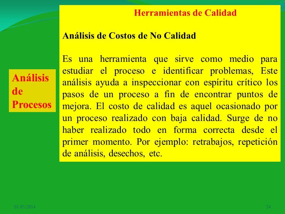 01/05/201424 Herramientas de Calidad Análisis de Costos de No Calidad Es una herramienta que sirve como medio para estudiar el proceso e identificar p