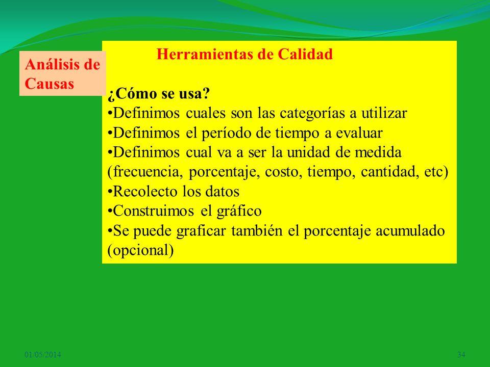 01/05/201434 Herramientas de Calidad ¿Cómo se usa? Definimos cuales son las categorías a utilizar Definimos el período de tiempo a evaluar Definimos c