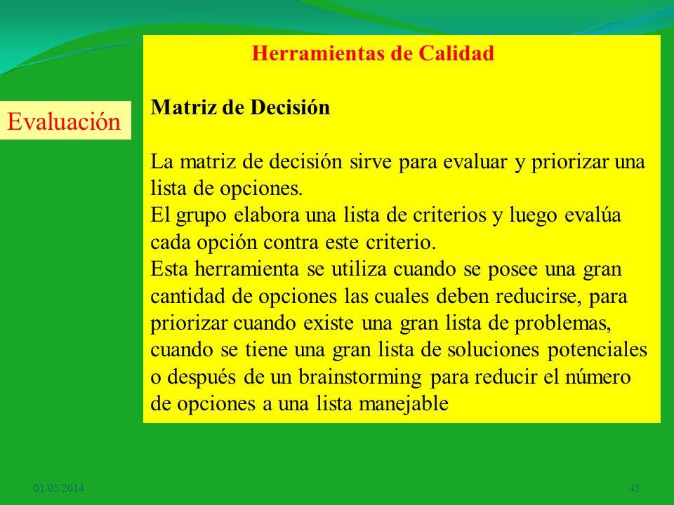 01/05/201445 Herramientas de Calidad Matriz de Decisión La matriz de decisión sirve para evaluar y priorizar una lista de opciones. El grupo elabora u