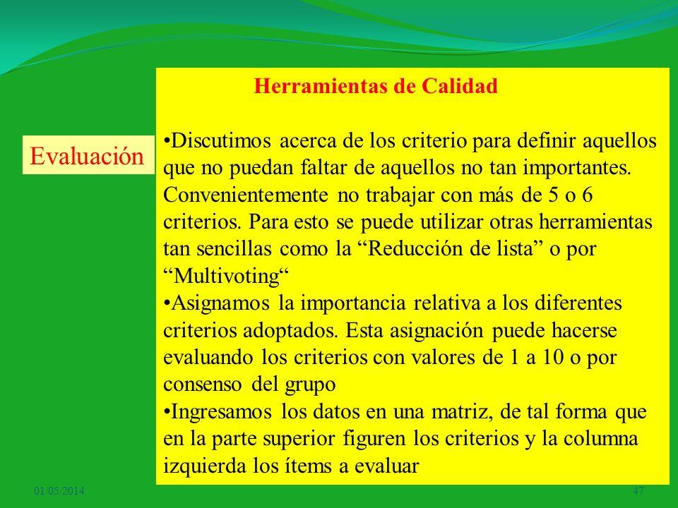 01/05/201447 Herramientas de Calidad Discutimos acerca de los criterio para definir aquellos que no puedan faltar de aquellos no tan importantes. Conv