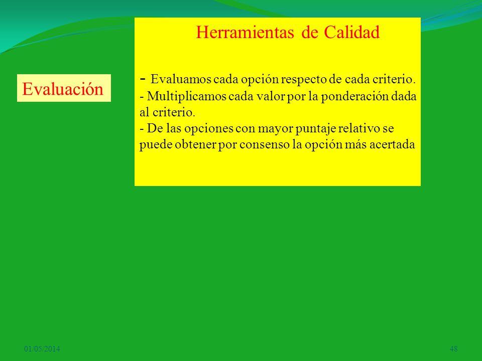 01/05/201448 Herramientas de Calidad - Evaluamos cada opción respecto de cada criterio. - Multiplicamos cada valor por la ponderación dada al criterio