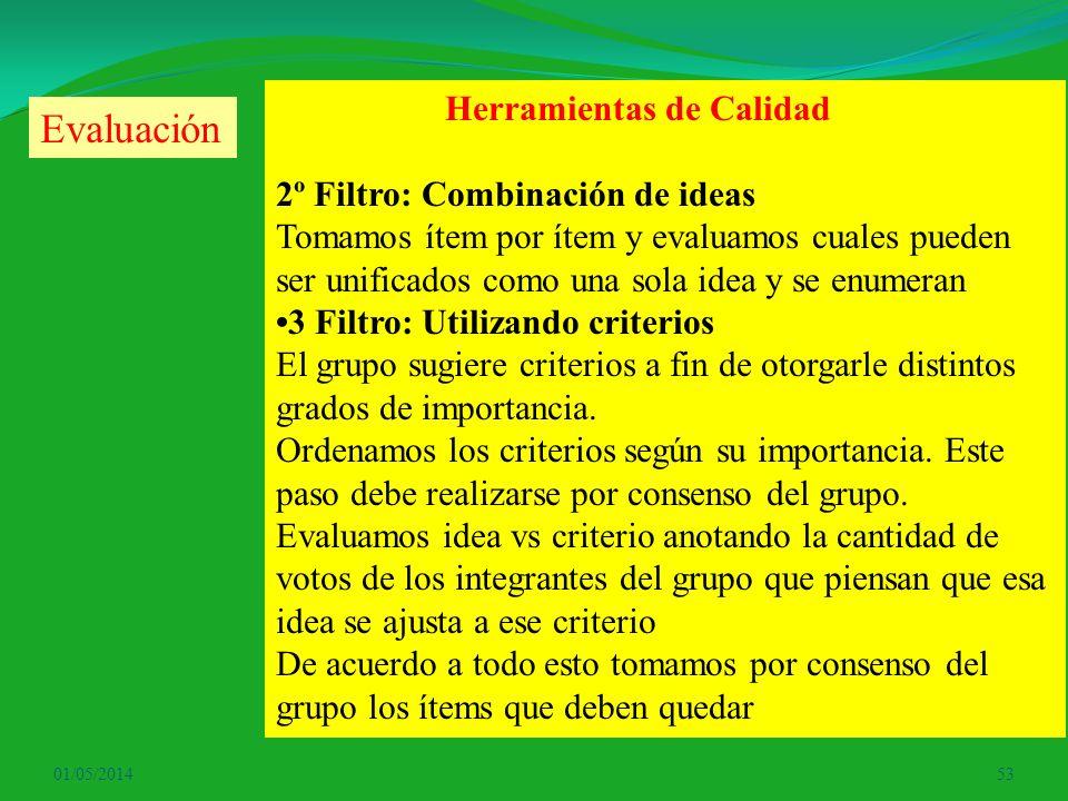 01/05/201453 Herramientas de Calidad 2º Filtro: Combinación de ideas Tomamos ítem por ítem y evaluamos cuales pueden ser unificados como una sola idea