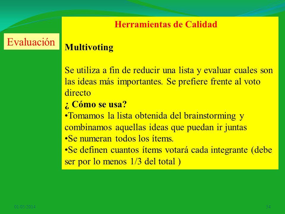 01/05/201454 Herramientas de Calidad Multivoting Se utiliza a fin de reducir una lista y evaluar cuales son las ideas más importantes. Se prefiere fre