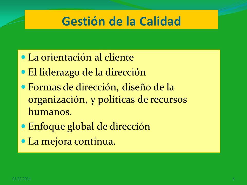 Gestión de la Calidad La orientación al cliente El liderazgo de la dirección Formas de dirección, diseño de la organización, y políticas de recursos h